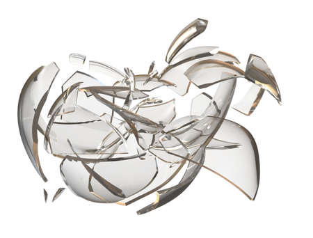 consequences: Fragments glass crashed apple. 3D rendering