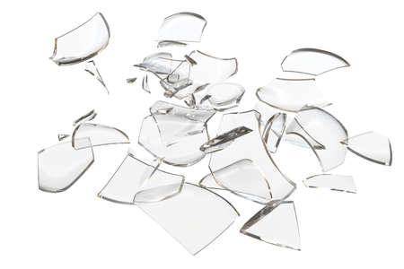 glasscherben: Fragmente Glas abgest�rzt Objekt. 3D-Rendering Lizenzfreie Bilder