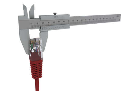 Caliper measures the network connector. 3D rendering photo