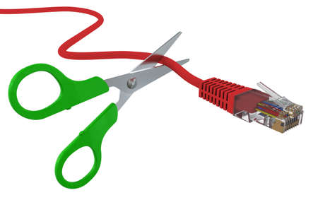 network cable: Scissors cut the network cable RJ45. 3D rendering Stock Photo