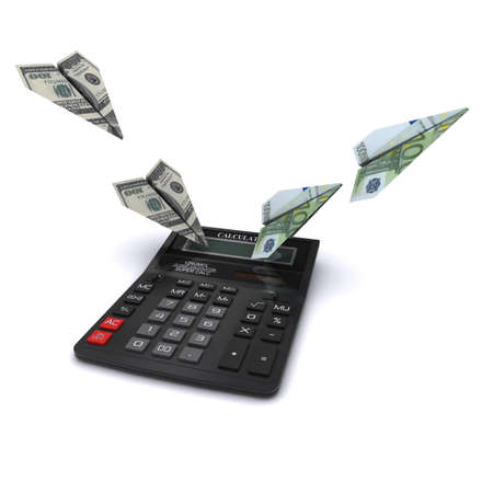 Calculator says paper airplanes out of dollars and euros. Symbol counting currency exchange rates. 3D rendering Stock Photo - 12362569