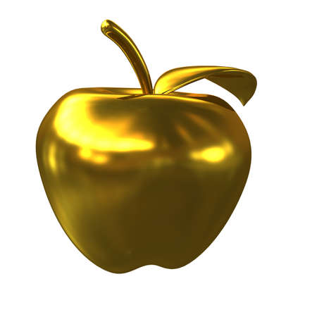 yellow apple: Golden apple isolated on a white background. 3D rendering