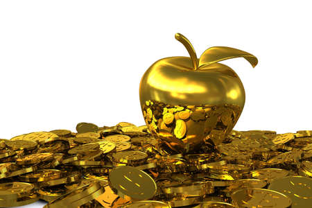 Golden Apple on the golden dollar coins. 3D rendering photo