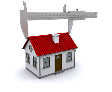caliper measures the length of the roof. 3D rendering Stock Photo - 12362564