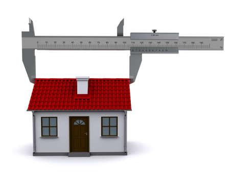 caliper measures the length of the roof. 3D rendering Stock Photo - 12362548
