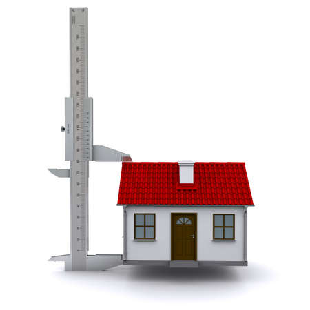 caliper measures the height of the house. 3D rendering Stock Photo - 12362559
