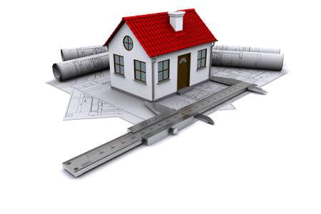 constructeur: Composition de dessins de construction, des mod�les � la maison avec un toit rouge et �triers. Rendu 3D
