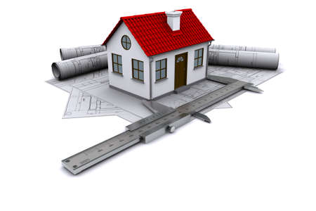 builders: Composition of construction drawings, models at home with red roof and calipers. 3D rendering Stock Photo