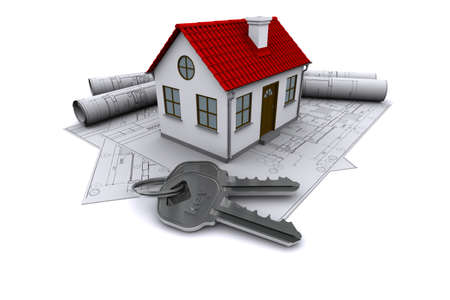 Composition of construction drawings, models at home with red roof and keys. 3D rendering photo