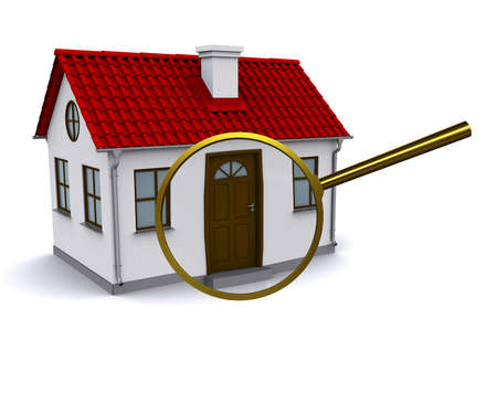 model home: Magnifying glass to enlarge or reduce the elements of the house. Analysis of the structure Stock Photo