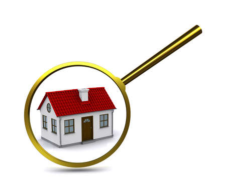 Magnifying glass to enlarge or reduce the elements of the house. Analysis of the structure photo