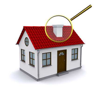 Magnifying glass to enlarge or reduce the elements of the house. Analysis of the structure Stock Photo - 12362562