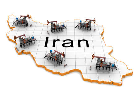 exporter: Oil pump-jacks on a map of Iran Stock Photo