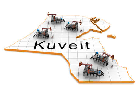 exporter: Oil pump-jacks on a map of Kuveit