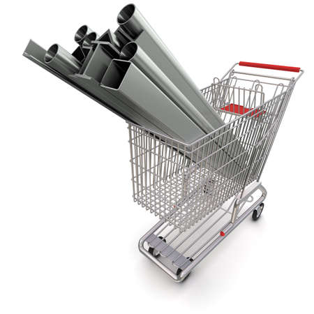 stainless steel industry: Metal in your shopping cart Stock Photo