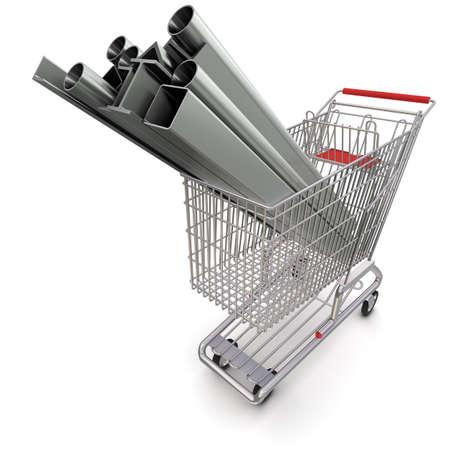 tubing: Metal in your shopping cart Stock Photo