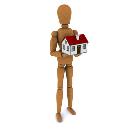 Standing wooden man holding a house with red roof. 3D rendering photo