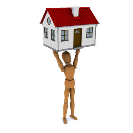 Standing wooden man holds in his hands above his head house with red roof. 3D rendering photo