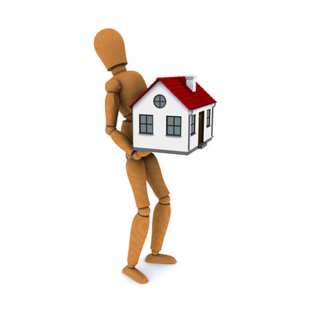 Standing wooden man with a force of holding a house with red roof. 3D rendering photo