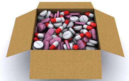 group therapy: There are many different pills in a cardboard box. 3D rendering Stock Photo