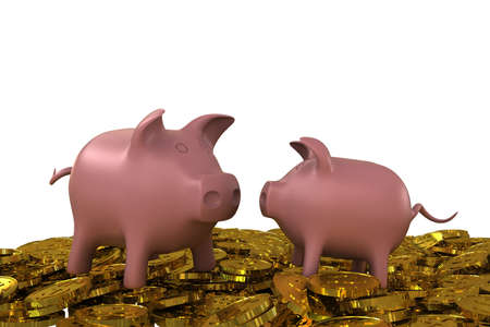 Two pink piggy bank on the golden dollar coins. 3D rendering photo
