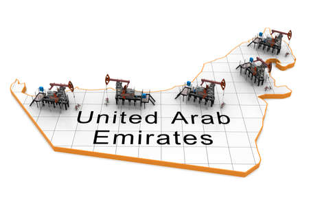 Oil pump-jacks on a map of United Arab Emirates photo