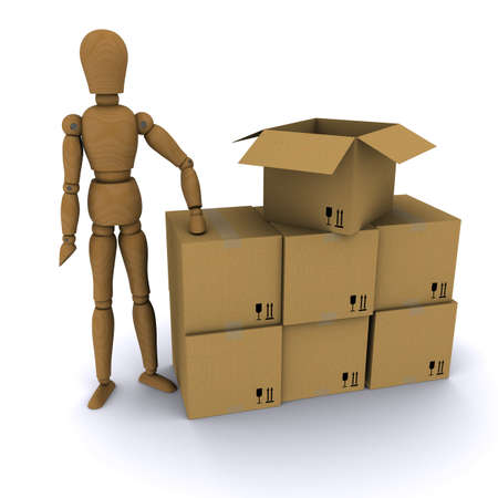 The wooden man and cardboard boxes. 3D rendering photo