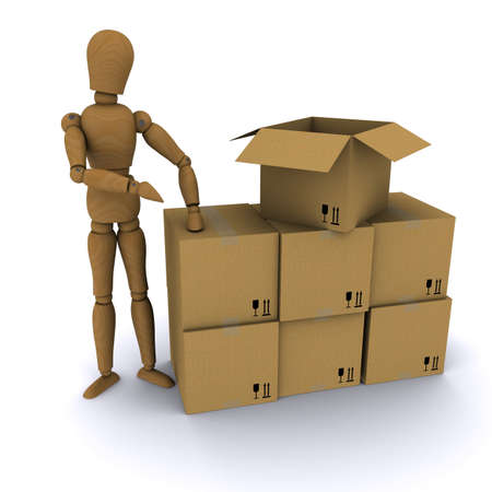 Wooden hand man points to a cardboard box. 3D rendering photo