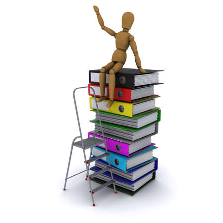 climbed: The wooden man climbed the ladder on the stack of books. 3D rendering