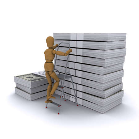 The wooden man climbs a ladder on a stack of dollars. 3D rendering photo