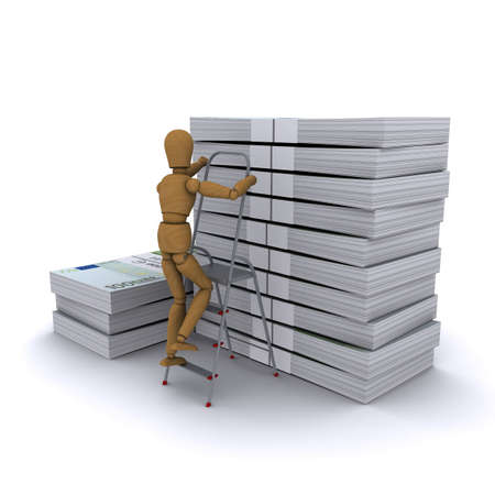The wooden man climbs a ladder on a stack of euro. 3D rendering photo