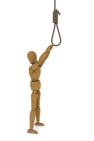 Wooden Doll pulls the arm to the gallows. 3D rendering photo