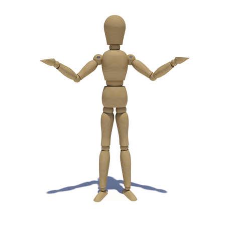 Holzpuppe zeigt linken und rechten Hand