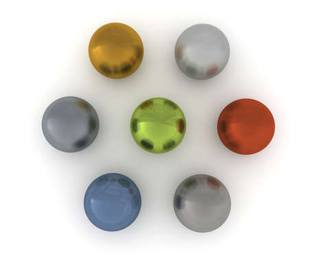 Seven balls of nonferrous alloys  View from the top  3D rendering Stock Photo - 12686665