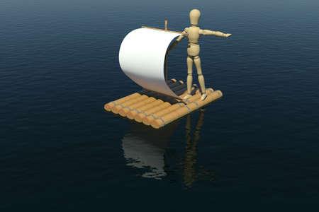 jangada: El hombre de madera flotando en una balsa con una vela blanca se dirige la mano del hombre hacia la
