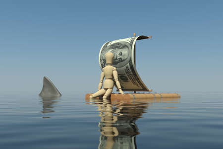 The wooden man floats on a raft with a sail from the dollar  The man lowered his leg in the water  The water can be seen shark fin photo
