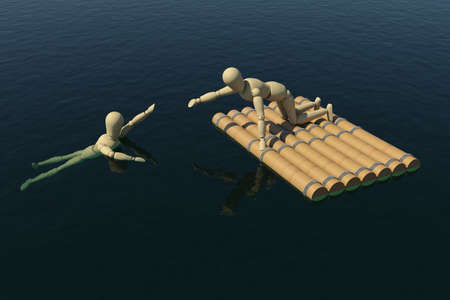 lend a hand: The wooden man on a raft pulled a drowning man Stock Photo