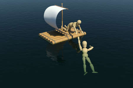 The wooden man on a raft pulled out to a drowning man  3D rendering photo