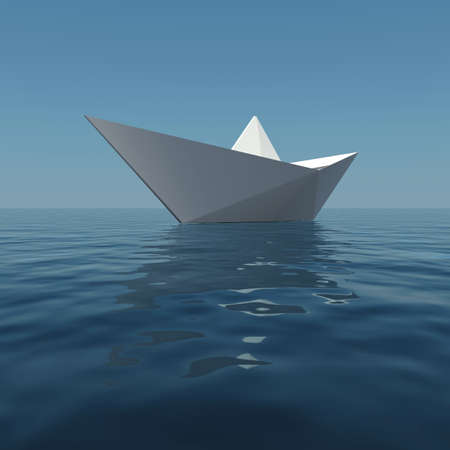 Paper boat in the sea. 3D rendering photo