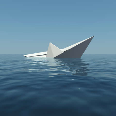3d boat: Paper boat is sinking into the sea. 3D rendering