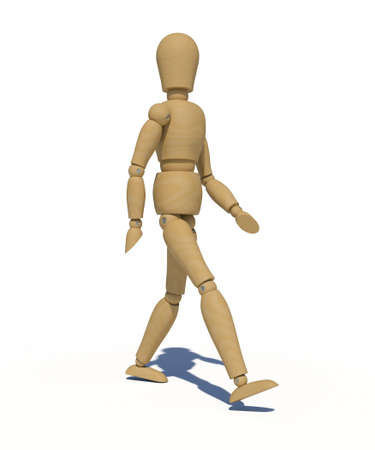 hinge: The wooden man walking  3D rendering