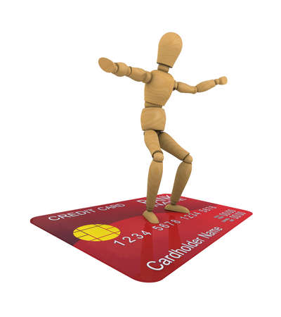 The wooden man stands on the credit card surfer pose  3D rendering Stock Photo - 12686682