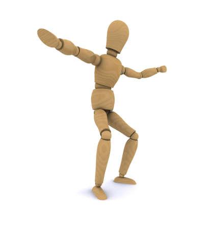 Wooden people dancing  3D rendering