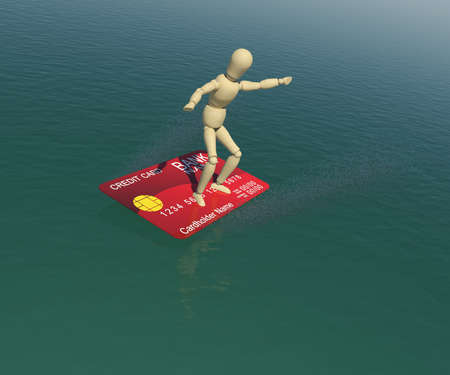 The wooden man on a credit card is floating on the water in the attitude of the surfer  3D rendering photo