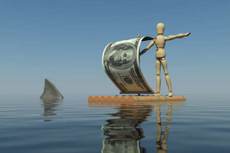 The wooden man on a raft with a sail from a dollar bill  Shark fin is near the raft  3D rendering photo