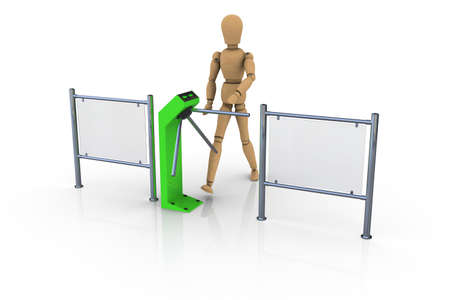 The wooden man in front of an open green turnstile  3D rendering photo