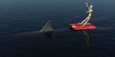 cardholder: The wooden man on a credit card is floating on the water riding the shark  3D rendering