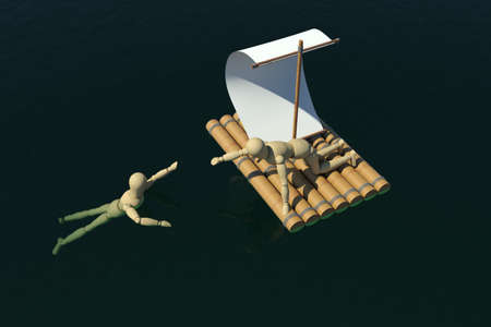 The wooden man on a raft pulled out to a drowning man  Top view  3D rendering Stock Photo - 12686720