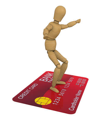 creditcard: The wooden man stands on the credit card surfer pose  3D rendering Stock Photo