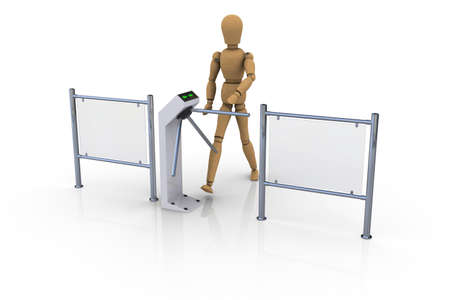 turnstile: The wooden man in front of an open white turnstile  3D rendering Stock Photo